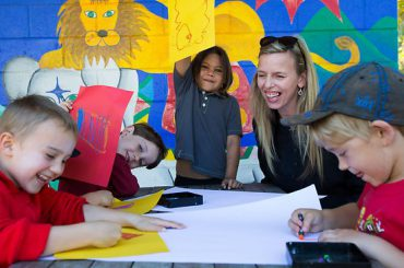 NAPCAN's Angela Walsh with Bowraville preschoolers. The preschool receives support from UBS Optimus Foundation which ensures children are safe and ready for their future. Picture: Lindsay Moller Source: TheAustralian