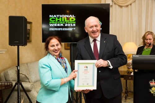 Amrit Versha receiving a National Play Your Part Award from His Excellency Sir Peter Cosgrove, Governor-General of Australia,